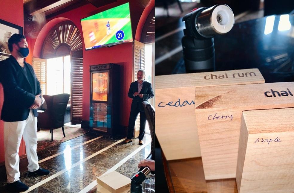 L to R: Chai Rum Co-Founders, John Fleming and Kiran Shiva Akal showcasing smoking blocks