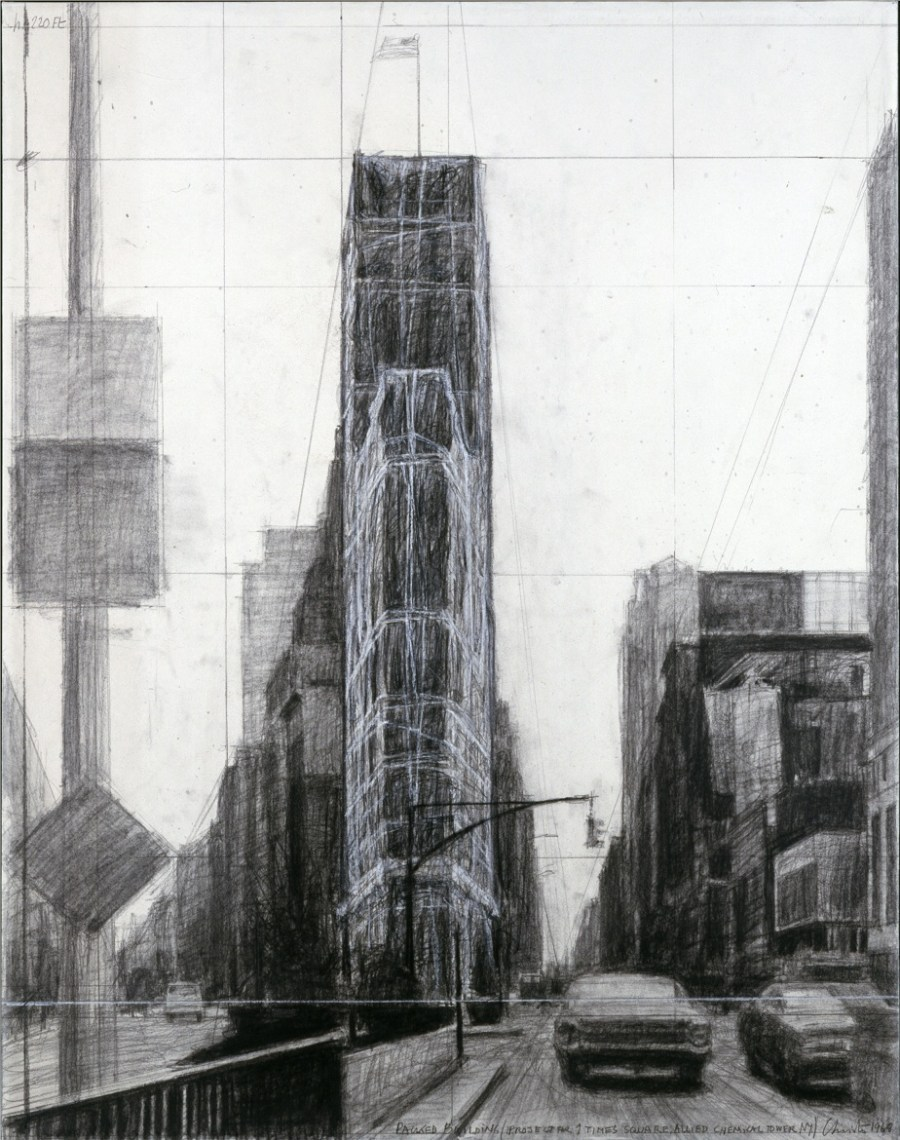 Christo, Packed Building (Project for 1 Times Square, Allied Chemical Tower, New York)