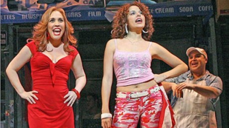 Andrea Burns, left, Janet Dacal and Eliseo Roman in In The Heights. Burns now stars in On Your Feet.