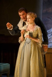 Liev Schreiber as Valmont and Elena Kampouris in her Broadway debut as Cécile Volanges
