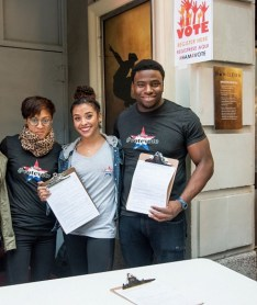 Okieriete Onaodowan and other cast members of Hamilton at voter registration drive outside the Richard Rodgers Theater
