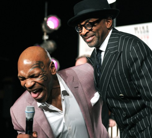 Mike Tyson and Spike Lee clowning around in announcing their Broadway debuts