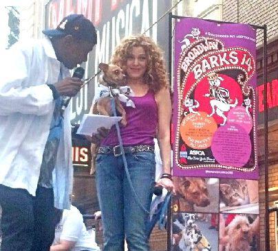 Ben Vereen, Bernadette Peters with dog in Broadway Barks 2012