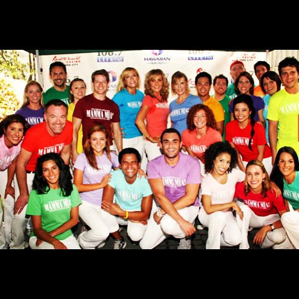 Mamma Mia cast members at Broadway in Bryant Park