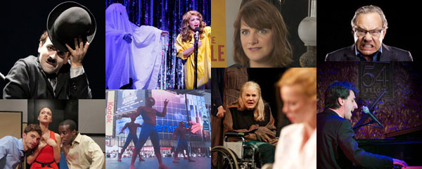 "New York Theater, clockwise from upper left: Rob McClure in ""Chaplin,"" spoof of Ghost in ""Forbidden Broadway,"" Rebecca Lenkiewicz adaptor of Ibsen's ""An Enemy of the People,"" comedian Lewis Black coming to Broadway in ""Running on Empty,"" composer-lyricist Jason Robert Brown at Below 54, Lois Smith in Sam Shepard's Heartless, Spider-man at Broadway on Broadway concert, scene from Adam  Szymkowicz's Off-Off Broadway play, The Why Overhead"
