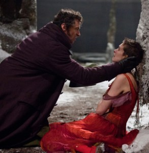 Hugh Jackman and Anne Hathaway as Jean Valjean and Fantine in Les Miserables the movie