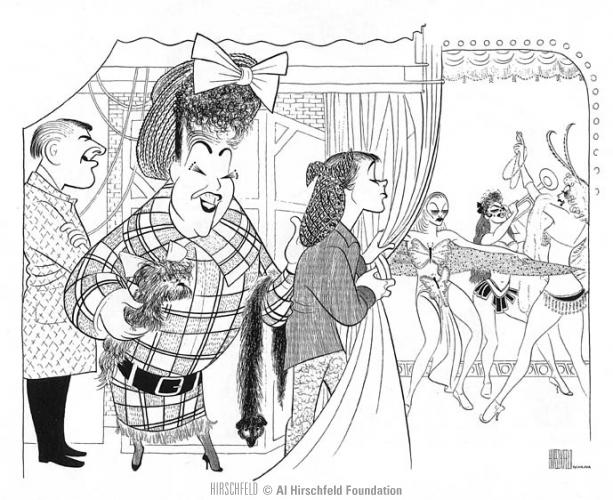 "Jack Klugman (far left) as Herbie in ""Gypsy"" with Ethel Merman in 1959, as drawn by Al Hirschfeld."