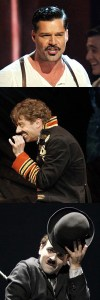 Mustaches on Broadway: Ricky Martin as Che, Christian Borle as Black Stache, Rob McClure as Chaplin