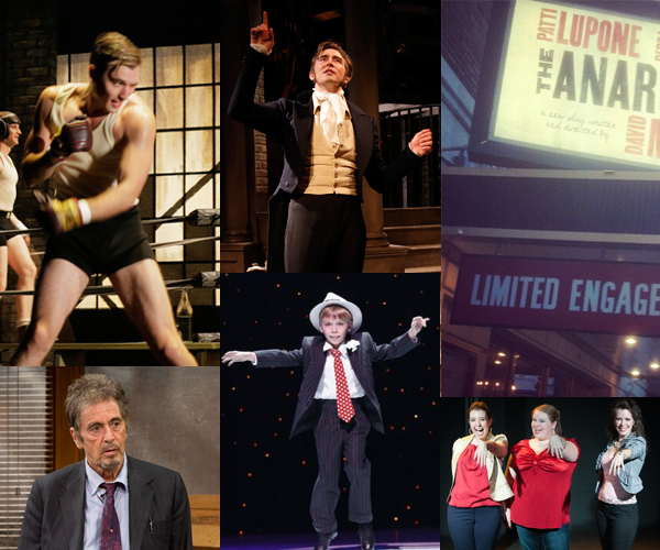 New York theater this week, from left: Golden Boy, Al Pacino, Lee Pace in Golden Age, Luke Spring in A Christmas Story, The Anarchist marquee, scene from The Drunken City, a play about liquor and love.