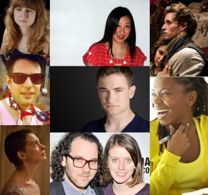 Left: playwrights Annie Baker and Joshua Conkel; Anne Hathaway in Les Miz. Center: theater director and playwright Young Jean Lee, playwright and actor Jonathan Draxton; director Sam Gold and his wife playwright Amy Herzog. Right: Samantha Barks and Eddie Redmayne in Les Miz; playwright Katori Hall