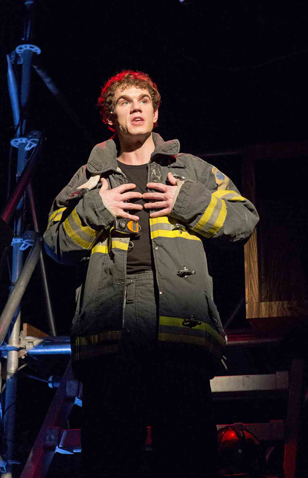 "Jay Armstrong Johnson as a fireman, one of the 26 characters by six actors in ""Working"" co-conceived by Stephen Schwartz (""Wicked"")"