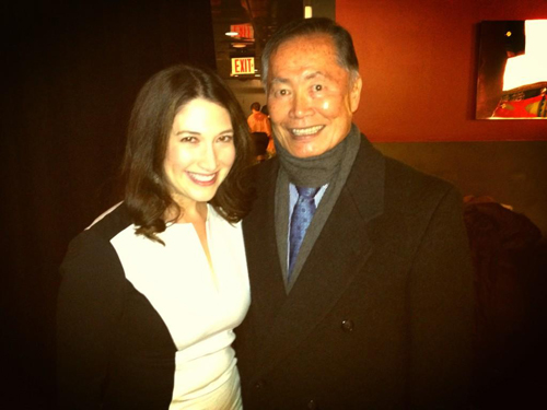 "Randi Zuckerberg and George Takei at TEDx Broadway 2013. Zuckerberg Tweeted about Takei: ""He was so great talking about theater & social media, I don't even have to speak! """