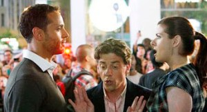"Daniel Sunjata (left) as a blunt-speaking dramaturg in"" Smash,"" faces off against Debra Messing with Christian Borle trying to mediate, in New York's theater district"