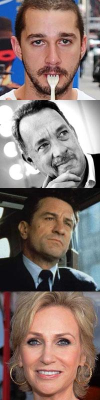 top to bottom: Shia LaBeouf, Tom Hanks, Robert DeNiro, Jane Lynch: Broadway Debuts