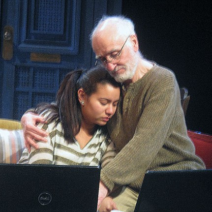"Yusef Bulos as Jidda comforts his granddaughter Rania, played by Mariel Suriel in the world premiere of ""After"" at York College"