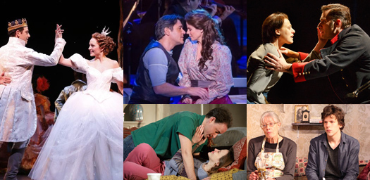 Couples in shows that opened this week, clockwise from left: Cinderella, Carousel, Passion, The Revisionist, Belleville