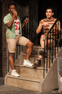 """Gregory Haney and Arturo Soria in a scene from """"Hit the Wall"""" at the Barrow Street Theater. Photos by Matthew Murphy."""