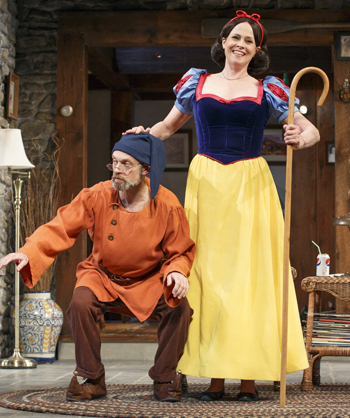 David Hyde Pierce and Sigourney Weaver dressed as a dwarf and Snow White in a scene from Christopher Durang's Vanya and Sonia and Masha and Spike, now on Broadway.