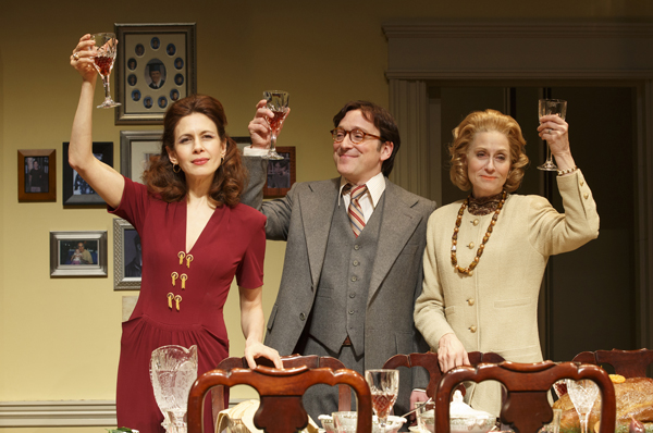 Jeremy Shamos in-between Jessica Hecht and Judith Light in The Assembled Parties