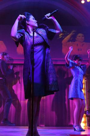 "Ruthie Ann Miles as Imelda Marcos in David Byrne's ""Here Lies Love"""