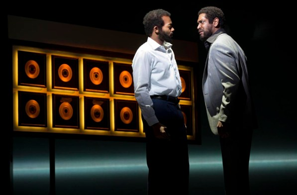 Berry Gordy Jr. (Brandon Victor Dixon) confronted by Marvin Gaye (Bryan Terrell Clark)