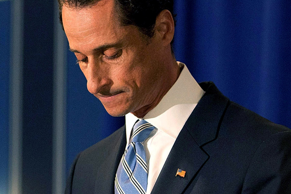 Anthony Weiner in 2011, when he announced his resignation from Congress.