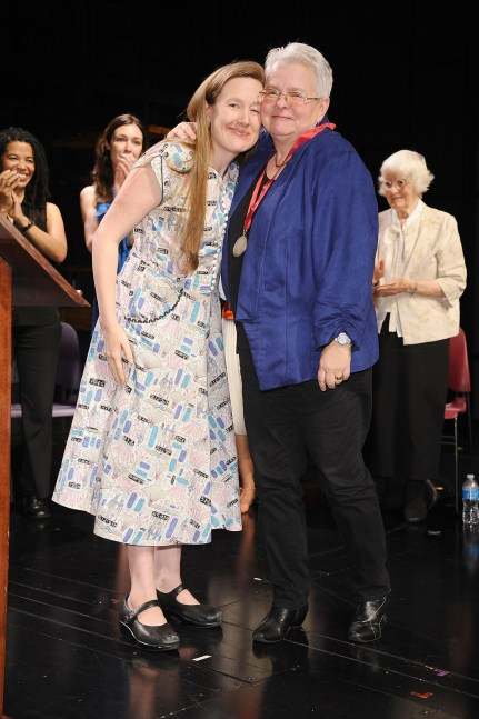 Playwright Sarah Ruhl, left with Lilly Awards recipient playwright Paul Vogel