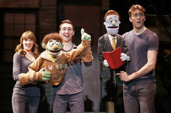cast of Avenue Q, waving goodbye