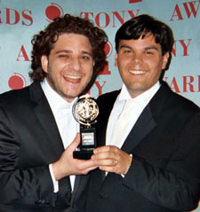 Jeff Marx and Bobby Lopez with one of their Tonys