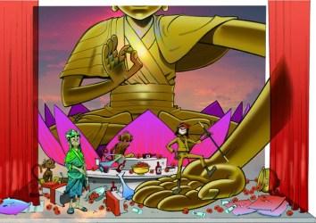 Monkey: Journey to the West, illustration by Jamie Hewlett, 20A Buddhas-palm-1