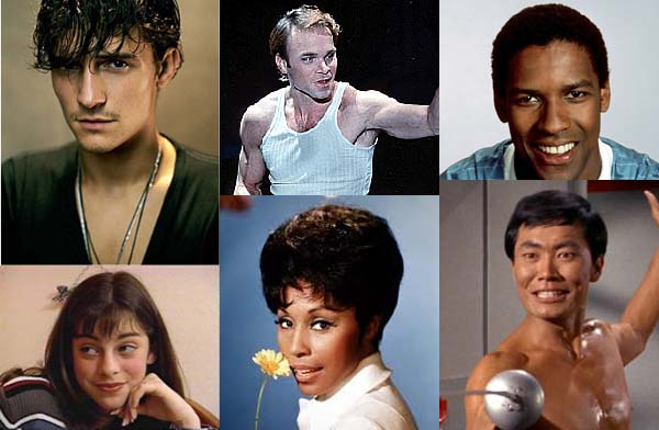 Broadway-bound stars pictured when they were younger. Clockwise from top left: Orlando Bloom, Norbert Leo Butz, Denzel Washington, George Takei, Diahann Carroll, Krysta Rodriguez