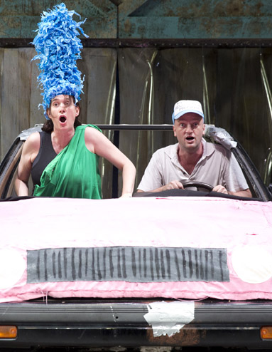 Marge and Homer Simpson, played by Jennifer R. Morris and Matthew Maher, in Mr. Burns, A Post-Electric Play