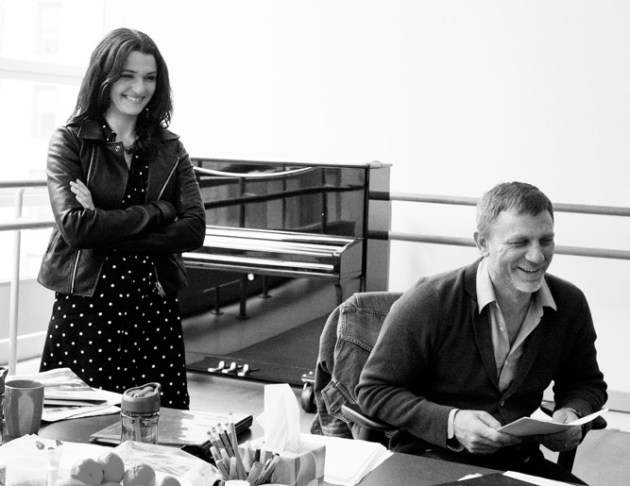 Rachel Weisz and Daniel Craig rehearsing Betrayal by Harold Pinter, directed by Mike Nichols. The production shots are grimmer.