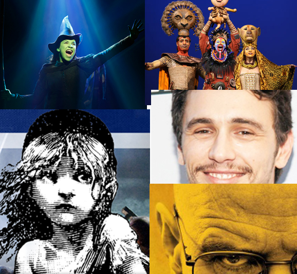 Clockwise from top left: Wicked, The Lion King, James Franco, Bryan Cranston, Les Miz all made theater news in October.