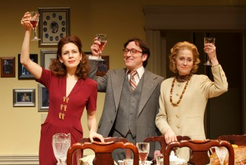 """The Assembled Parties: There are inexplicable moments in Richard Greenberg's play that make you fall in love with the character played by Jessica Hecht – near the end, when she comes out in the dress of her mother the dressmaker; and near the beginning when, now a middle-aged housewife, she explains her experience as a movie star: """" My main talent was not looking like Sandra Dee. Or whoever was being Sandra Dee that year. It was only four movies, isn't that something? Just a phase, really. I love that it happened to me but it was nothing to give up. And I've loved everything that's happened to me since just as much."""" Hecht managed to make such modesty, sincerity and optimism not just believable, but possible."""