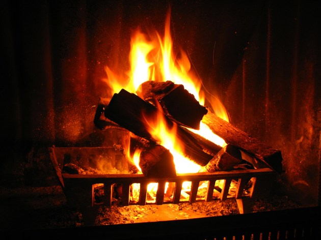 Burning log in Fireplace