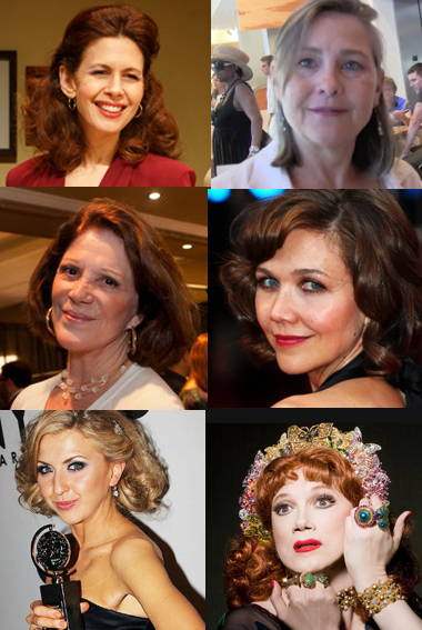 Starring Off-Broadway Spring 2014: (left to right, top to bottom) Jessica Hecht, Cherry Jones, Linda Lavin, Maggie Gyllenhaal, Nina Arianda, Charles Busch