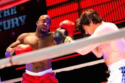 Terence Archie and Andy Karl in Rocky on Broadway