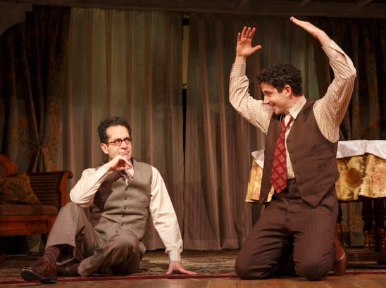 Act One, the dramatization of Moss Hart's beloved theater memoir, comes alive when Santino Fontana as Hart first begins to collaborate with Tony Shalhoub as Hart's quirky mentor George S. Kauffman.