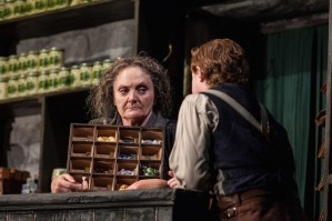 Gillian Hanna and Conor MacNeill as her exasperating customer