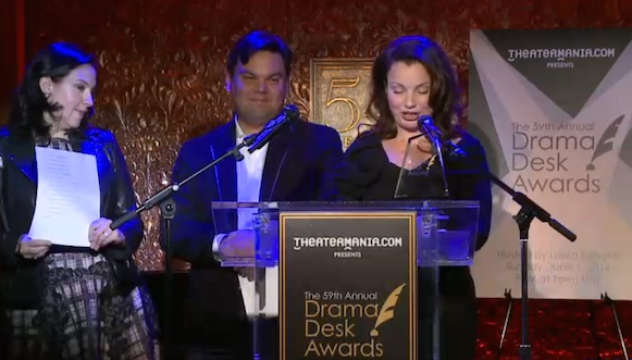 Kristen Anderson-Lopez, Bobby Lopez and  Fran Drescher announcing the Drama Desk nominees.