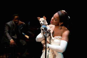 Audra McDonald re-creates the voice of Billie Holiday in Lady Day at Emerson Bar and Grill, and there is a sad, sad moment, after Billie has gone off-stage (clearly to shoot up), when she comes back, cheerful and wobbly.