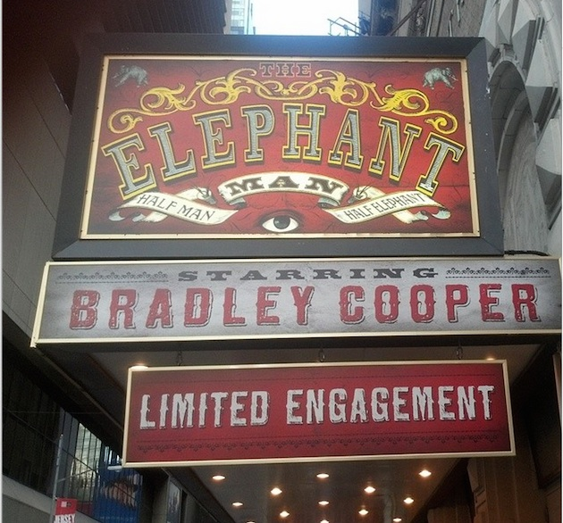 The Broadway marquee of the Elephant Man with Bradley Cooper is already up, although the show doesn't open until November.