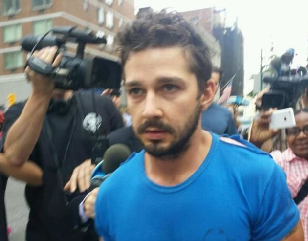 Shia LaBeouf after being released from jail this morning.