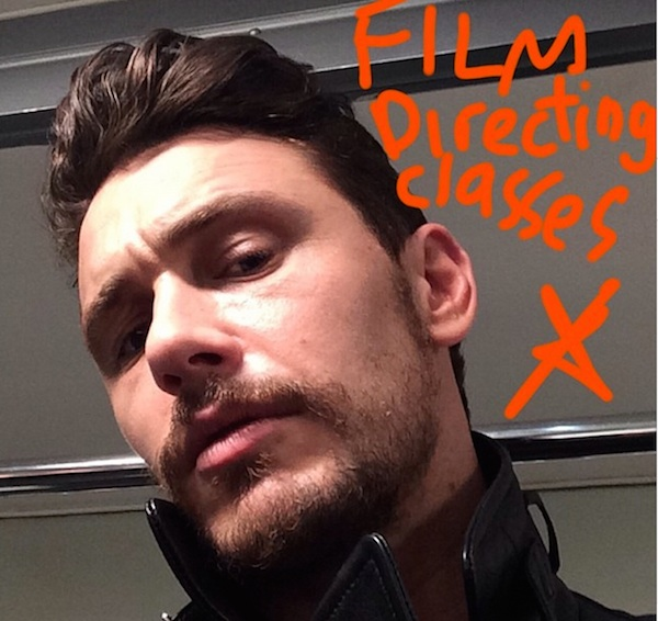 James Franco on Instagram, promoting his film directing course.