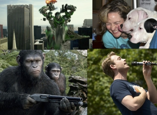 Left: Scenes from Transformer: Age of Extinction (top) and Dawn of the Planet of the Apes (bottom) Right: Matilda's Jill Paice at Broadway Barks (top); If/Then's James Snyder at Broadway in Bryant Park.