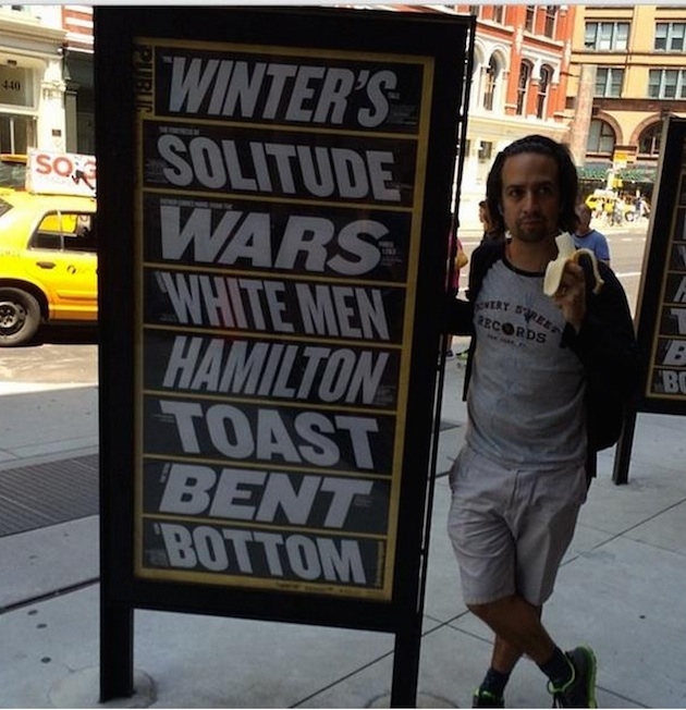 "Lin-Manuel Miranda in front of quick summary of Public Theater's 2014-2015 season, including his ""Hamilton"""