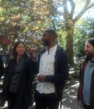 Artist walk leaders Sarah Schulman, Niegel Smith, Todd Shalom