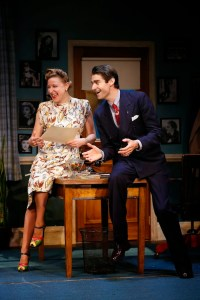 Sophie von Hasselberg and Drew Gehling as Wilder's secretary and producer.