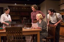 Elise Kibler, Alex Trow, Katie Gibson, and Matthew Gumley as office workers in London Wall